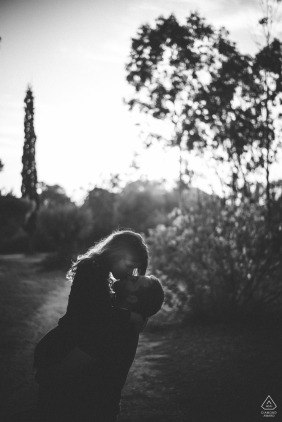 A hugging couple during their engagement session in Athens, Greece