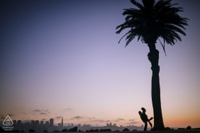 Angle Island, San Francisco engagement photo of a couple silhouetted against a purple sky and a palm tree