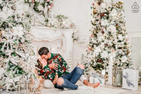 A decorative Christmas engagement photoshoot in Toronto, Canada