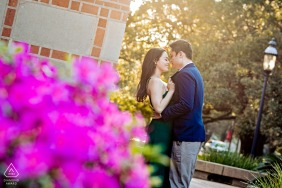 Rice University engagement photo session of couple in the common area
