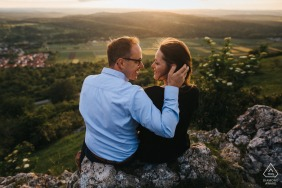 Kirchheim an der Teck engagement shooting in the nature at sunset on the hill