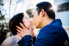 San Francisco urban couple engagement portrait with a Kiss in the city