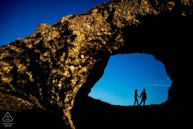 Czech Republic silhouetted couple portrait at the rocks during engagement shoot session