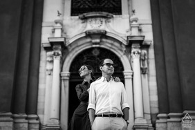 Trieste, Italy couple In the arch for their engagement portrait
