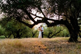 Love in the middle of an olive field at the sunset in Zakynthos, Greece