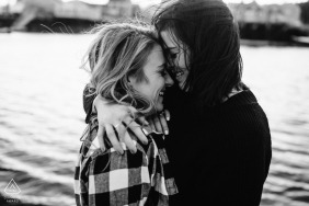 Peirce Island, Portsmouth, NH engagement portrait by the water in black and white