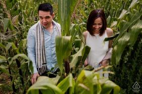 een verloofd stel loopt tijdens hun portretfotoshoot door de maïsbestanden in Cuscco