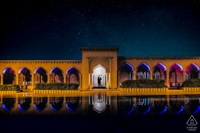 muscat couple relaxing with a night reflection portrait
