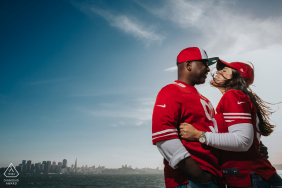 Angle Island, San Francisco Fans of Niners portrait session with a light and team gear