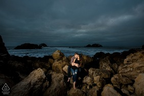 San Francisco Sutro Baths Late afternoon engagement session with a nice breeze