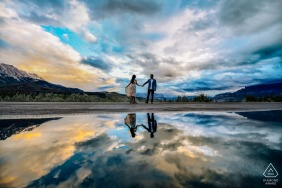 Jasper Lake, Jasper National Park, AB, Canada engagement portrait with a water Reflection