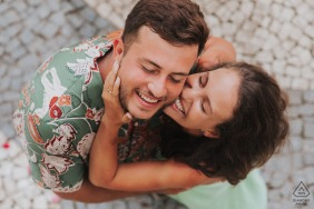 Loving embrace by a couple from Bahia Brazil during their engagement portrait session