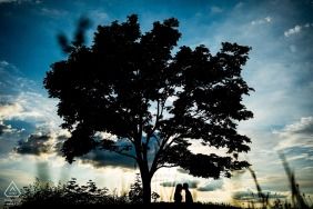 Rosice couple portraits with an evening tree silhouette