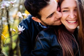 Lovely jokes and smiles and a kiss on her cheek during this Gorizia, Italy engagement photoshoot