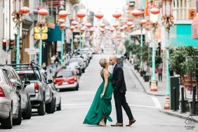 Chinatown, San Francisco CA Red Lanterns Alley engagement shoot on the streets in formal wear