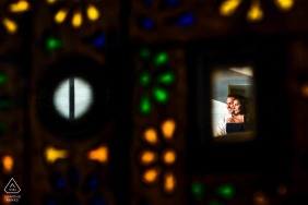 engaged couple framed for a colorful portrait at the W Resort in Punta Mita, Nayarit, México