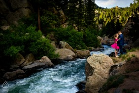 South Platte River engagement photoshoot at the river of Eleven Mile Canyon in Lake George, Colorado.