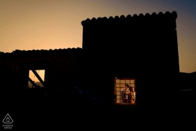 Águilas Sunset at the house during indoor engagement portrait session in Spain