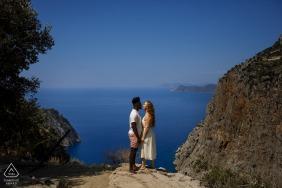 A pre wedding photo in Kelebekler Vadisi, Fethiye, Mugla, Turkey above the beach waters
