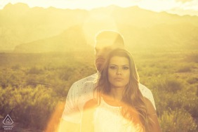 portrait of couple at golden hour at Red Rock