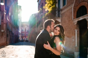 Venice, Italy sunflare engagement portrait session on the streets