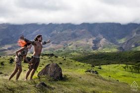 a Maui, Hawaii (USA) windy tropical maui mountain couple engagement photo shooting session