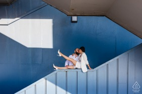 An İstanbul Turkey Couple in a geometric frame under Galata Bride during their engagement photo session