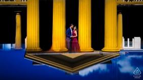 Dundurn Castle, Hamilton, Canada engagement portrait of a couple reflecteds using a phone.