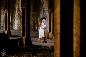 Chicago couple embrace during an engagement portrait session