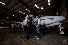 Danville, California engagement portraits in a hanger for a Pilot in Hong Kong