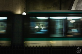 Paris Couple in metro during a slow shutter speed engagement portrait session
