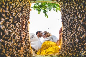 floridia beekeeper engagement portraits with a bee hive