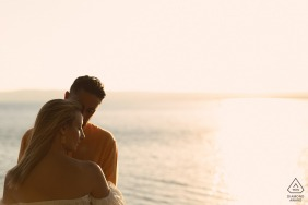 a romantic minute for the couple at the lake of Bolsena Italy