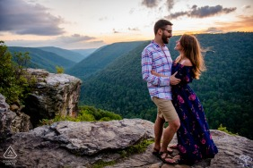 Blackwater Falls Sunset West Virginia Engagement Portraits high above the valley