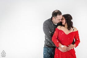 Iceland engagement portraits in the snow with a winter love session