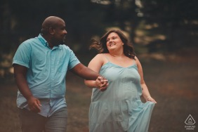 Engagement session in the woods at Arnold Arboretum in Boston, MA