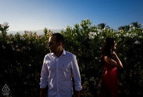 Águilas - Spain couple posing In the Shadows during their prewed engagement shoot
