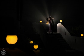 Zhejiang China Engagement couple portrait session indoors with lights and shadows