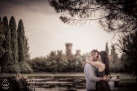 Pre wedding session at the park of the castle at Giardini Sigurtà, Valeggio sul Mincio, Italy