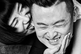 China Intimate biting ears of couple during pre-wedding portraits in shandong