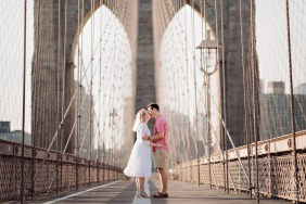 DUMBO Brooklyn engagement shoot on the top of the Brooklyn Bridge