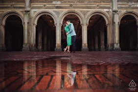 Central Park, NYC couple kissing at the Bethesda terrace for engagement session