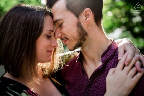 Warm and intimate couple engagement photos face to face in Paris