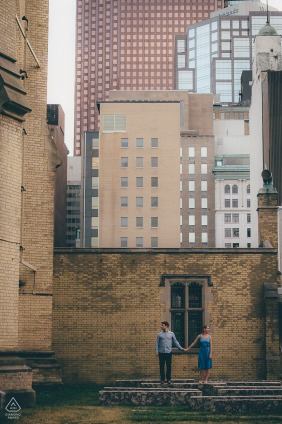 Downtown Toronto, Ontario engagement session of couple newly engaged