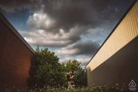 Erin, Ontario engagement photography with leading lines with color