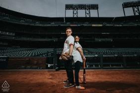 Baseball stadium couple engagement photography at Oracle Park, San Francisco