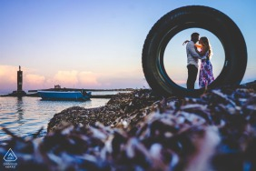 Sunset beach couple engagement photography in Sicily