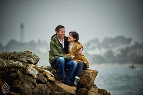 Water loving couple engagement photos in St Marine, France