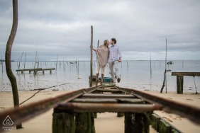 Boat tracks launch rails couple engagement image from CAP FERRET - FRANCE