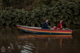 Santa Teresa, Espírito Santo, Brazil engagement portrait on the lake rowing a boat